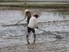 Velden worden aangeharkt en modder verdeeld om dijkjes van te maken
