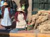 Juliaca, vrouwen propberen huiden van alpaca's aan de man te brengen