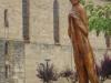 Óbanos, voor de kerk staat een peregrino, deze keer van hout