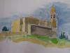 Voor de vrijwilligster tekent Hans de kerk van Ventosa, hij krijgt er een 'big hug' voor terug