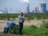 Vogelspotters, op zoek naar een zeldzame rietzanger