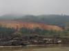 De Thaien zijn bezig de oever met stortsteen te versterken