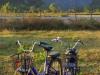 We zetten onze fietsen in het droge rijstveld en genieten hier van de zonsondergang