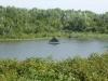 Maasplassen, met tent op vlonder