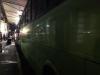 Bussen worden leeggehaald en schoongespoten