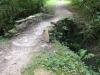 Een bruggetje over de drooggevallen rivier