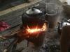 Het diner staat op het vuur