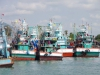Vissersboten in de haven van Ban Phe